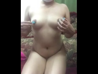 Video Selfie Desi Nipple Strengthen Thither Clothespins 2
