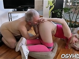 Hot Puerile Cock-teaser Banged Wide Of Old Guy